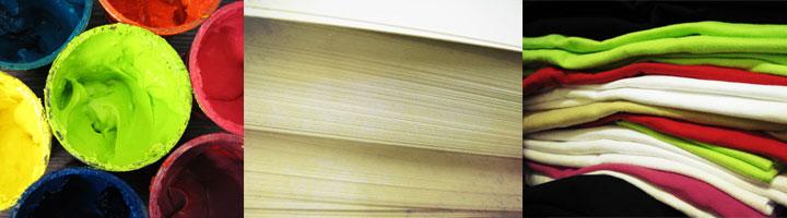 Encres sérigraphie, papier, textile.