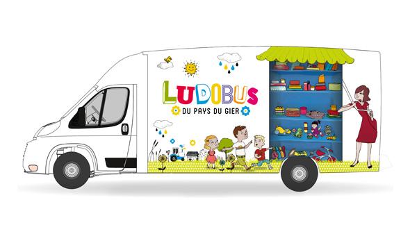 Habillage du Ludobus - Illustrations Personnages et étagères : Rouge Poisson