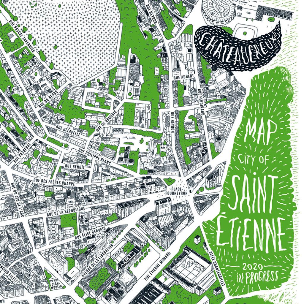 Détail - Plan de Saint-Étienne - niaksniaks