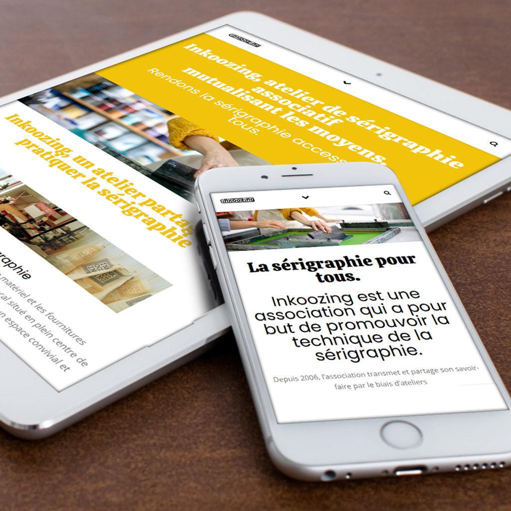 photomontage du site internet sur mobile et tablette - inkoozing - niaksniaks